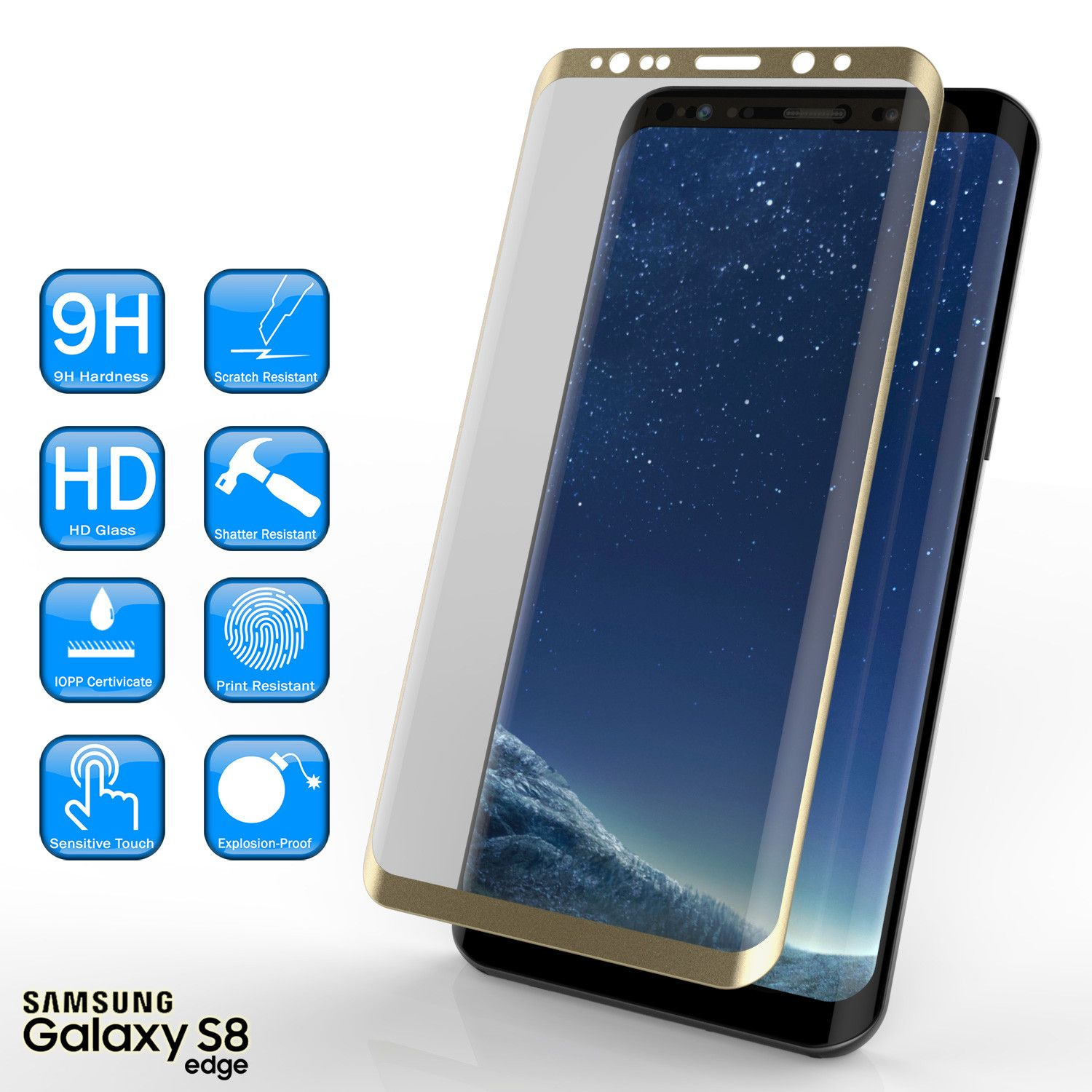 Galaxy S8 Plus Gold Screen Protector Punkcase Glass Shield Samsung Galaxy S8 Plus Tempered Glass Screen Protector 0 Glass Shield Glass Screen Tempered Glass