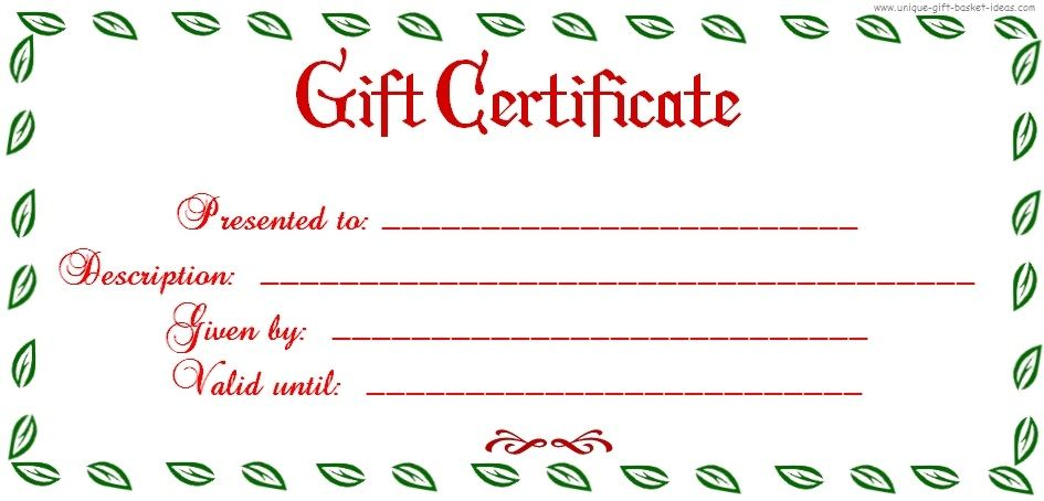 Free Printable Blank Gift Certificate Printable Christmas Gift - coupon template for word