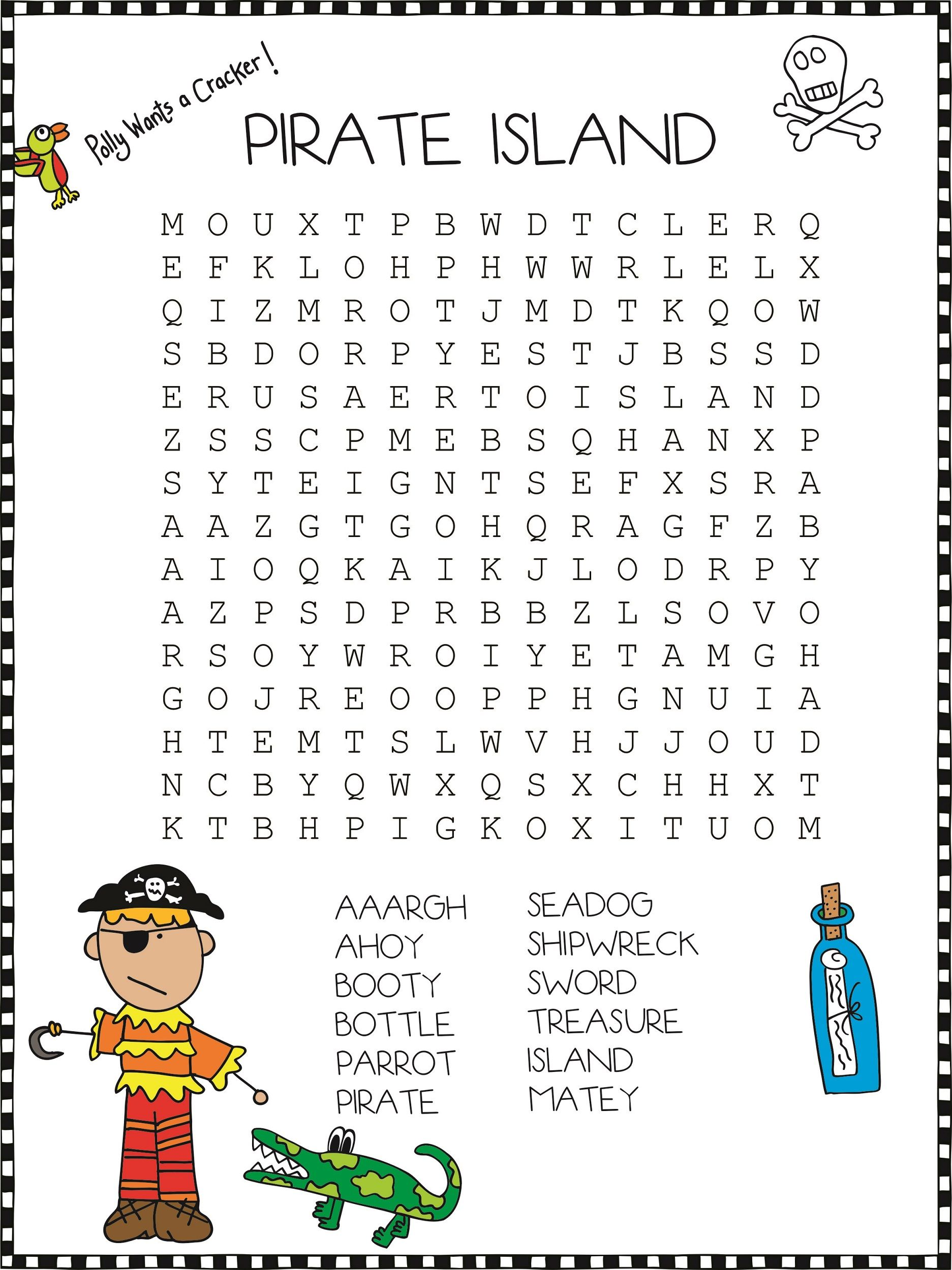 Pirate Word Search For Kids