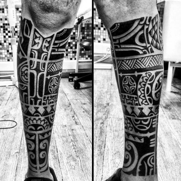 Guys Leg Sleeve Polynesian Tribal Tattoo Tatouage Tatouages Impressionnants Tatouages Polynesiens