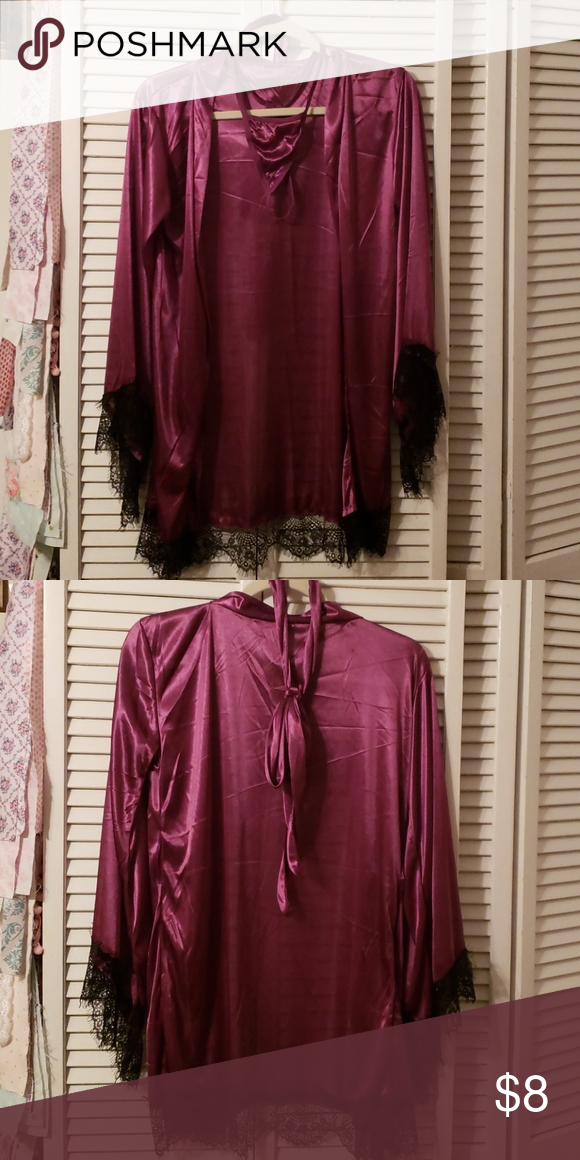 28a95645591a4 Burgundy and Black Lace Robe Burgundy and Black Lace Robe. Never worn. No  Brand