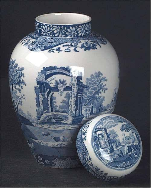 Blue Italian ginger jar with lid by Spode at Replacements, Ltd.