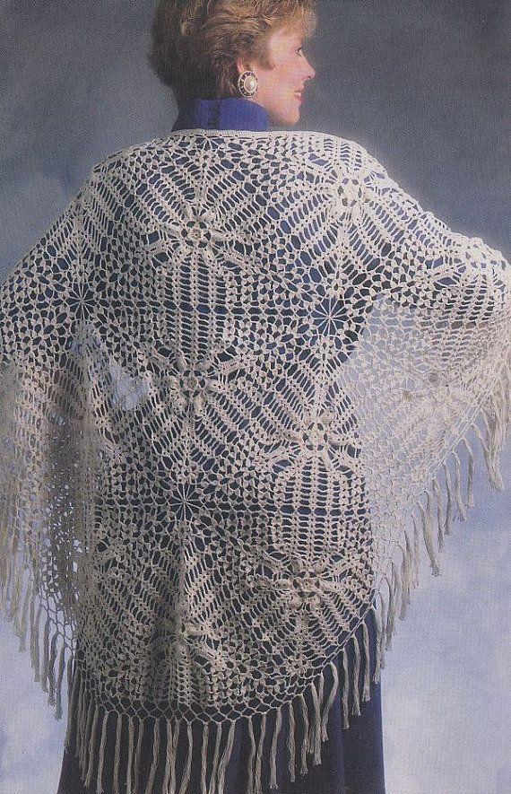 Lacy Shawl Crochet Pattern   Chal, Tejido y Ponchos