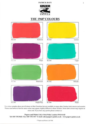 1960s paint color range really big bright and bold I especially