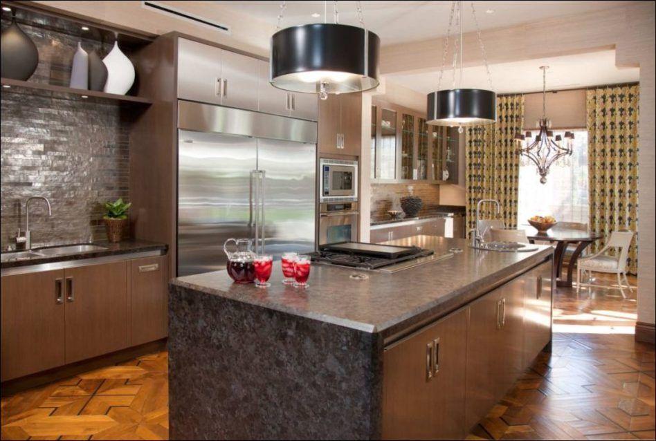 modern kitchen sleek medium brown high gloss oak laminated