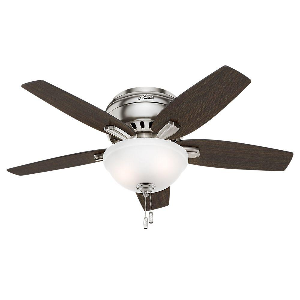 Hunter newsome 42 in indoor low profile brushed nickel ceiling fan hunter newsome 42 in indoor low profile brushed nickel ceiling fan with light kit aloadofball Choice Image