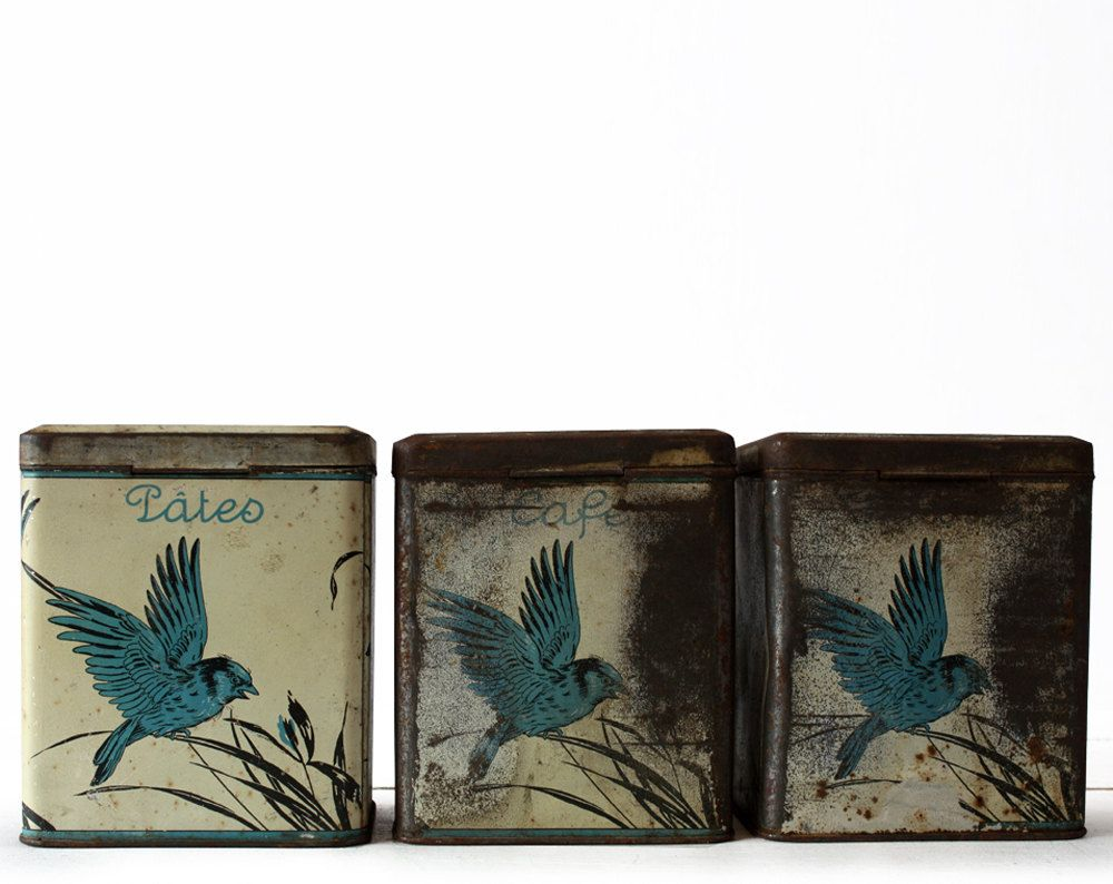 Set of 3 antique french Tin Canisters