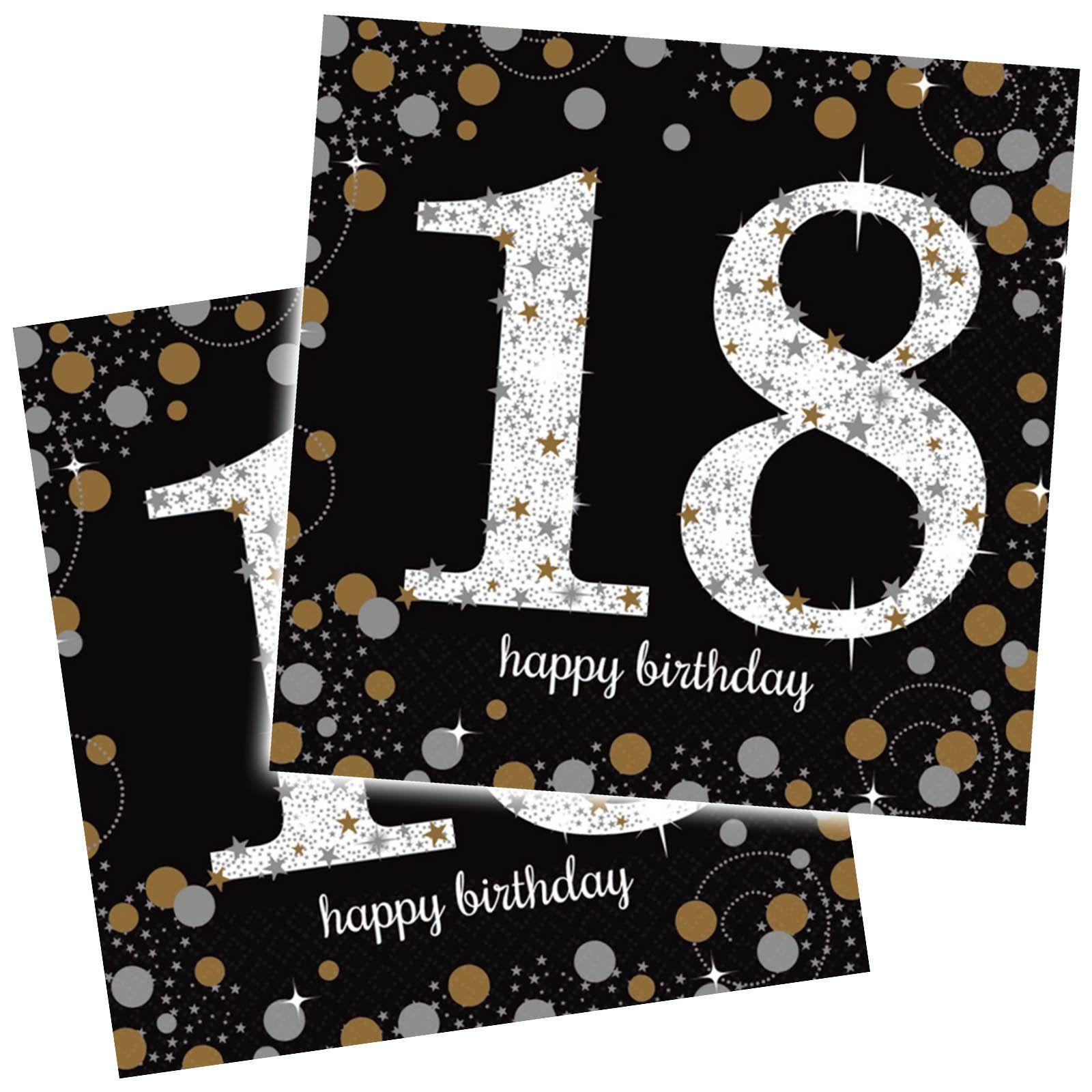 16 Gold Black Sparkle Celebration 18Th Birthday Party