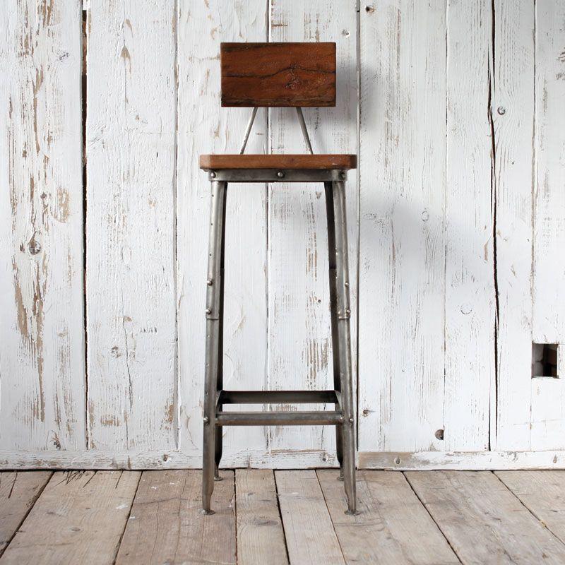 Stunning Vintage Metal Bar Stools With Rustic Wood Style Stool