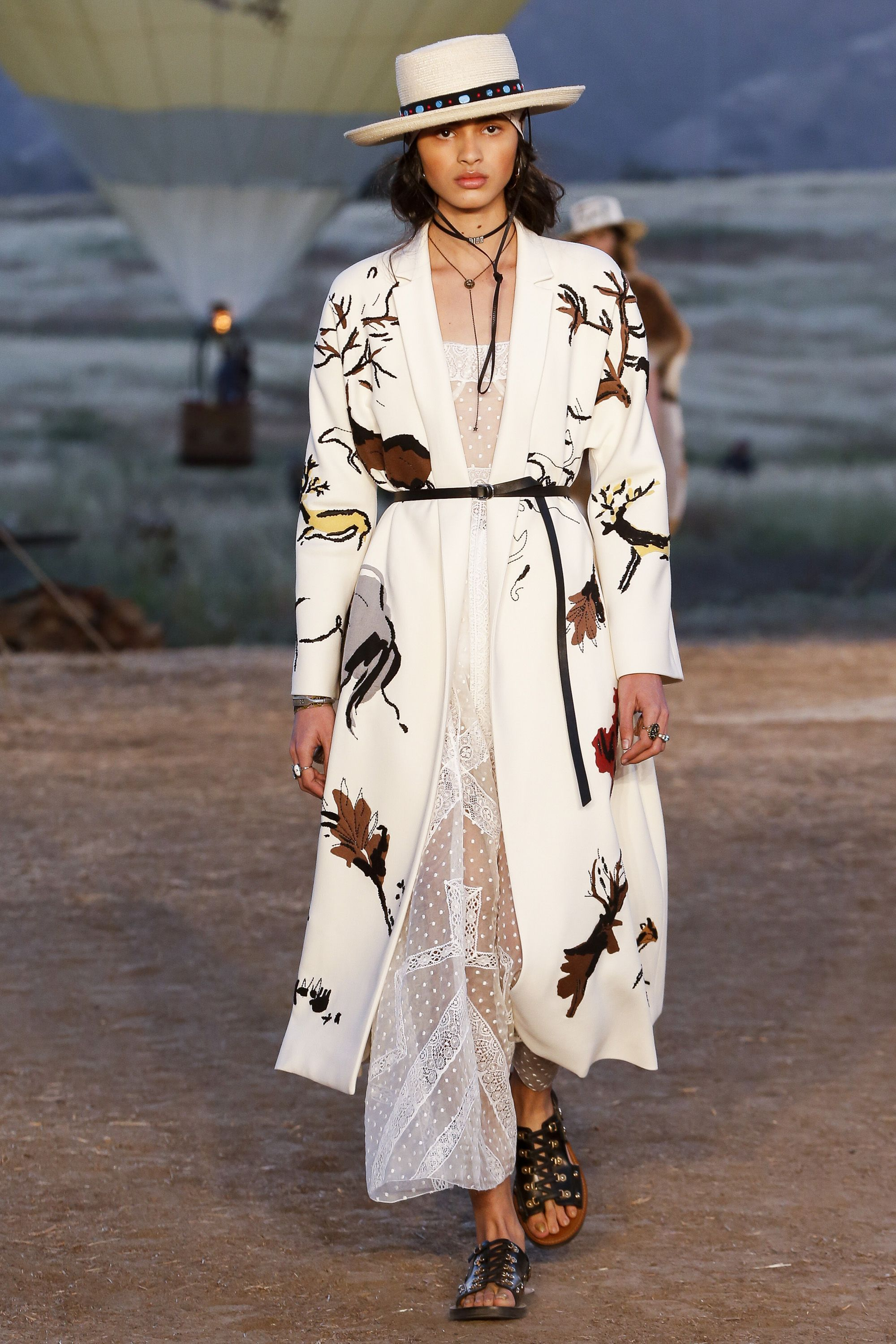 9b0a35a660f Christian Dior Spring Summer 2018 Resort Collection Long robe jacket over  shift dress with slides slippers