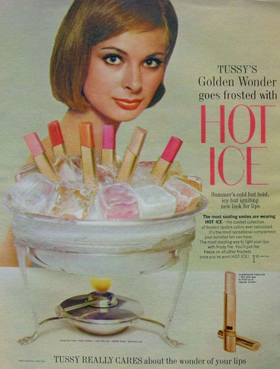 1964 Tussy Makeup Ad Hot Ice Frosted Lipsticks Mad by AdVintageCom