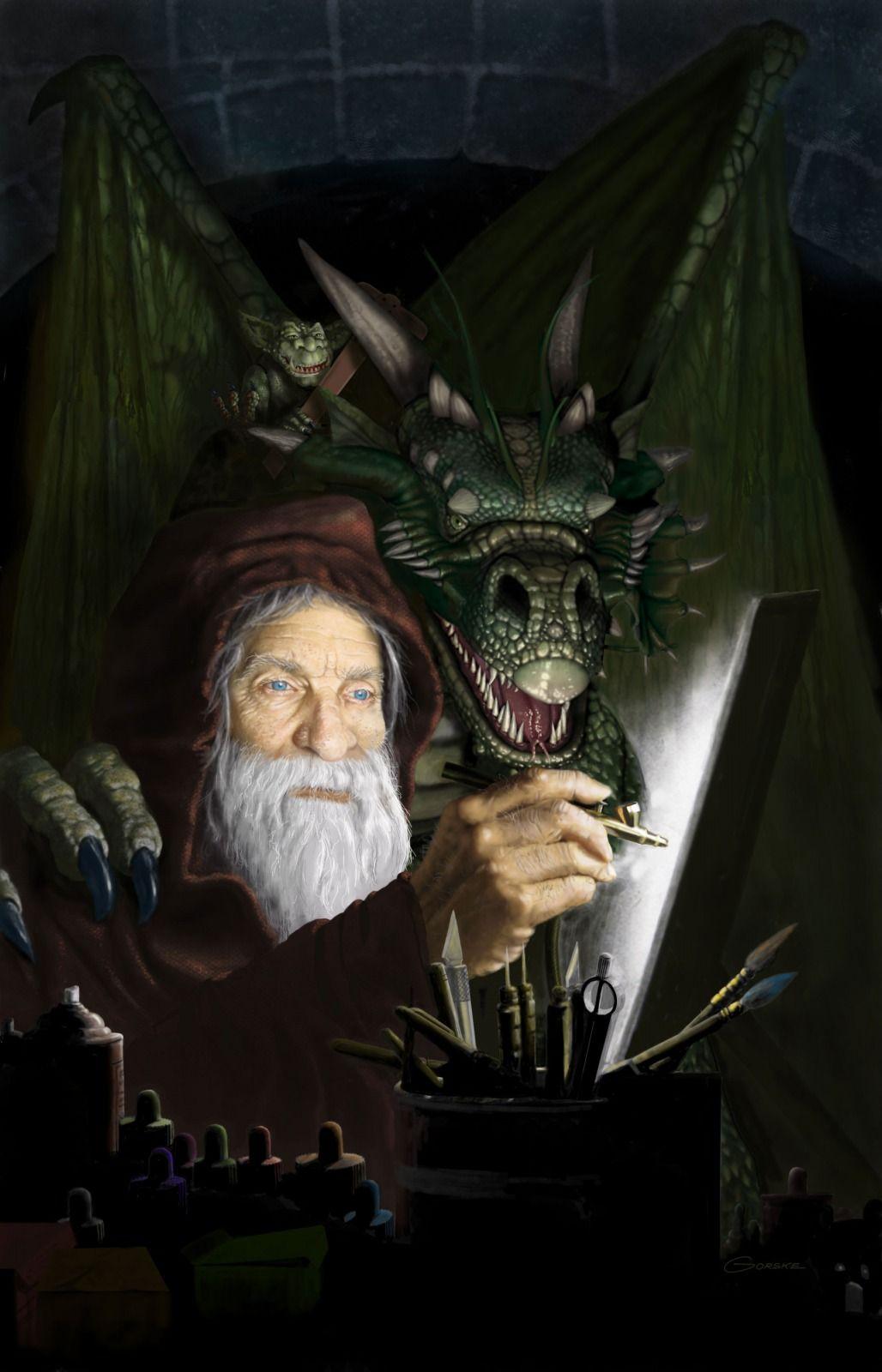 Chamber Of Airbrush Magic 2d Fantasy Wizard Dragon Gnome Gremlin