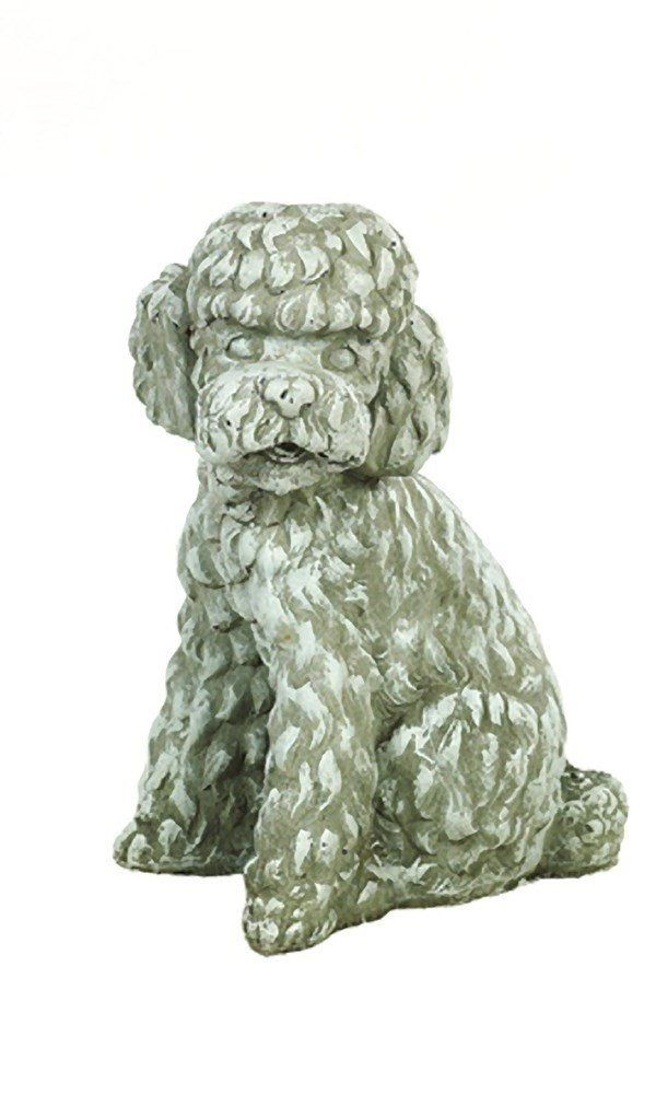 Solid Rock Stoneworks Long Hair Poodle Dog Stone Statue