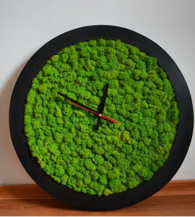 Pin By On Clock Moss Decor Moss Wall Art Wall Clock Design