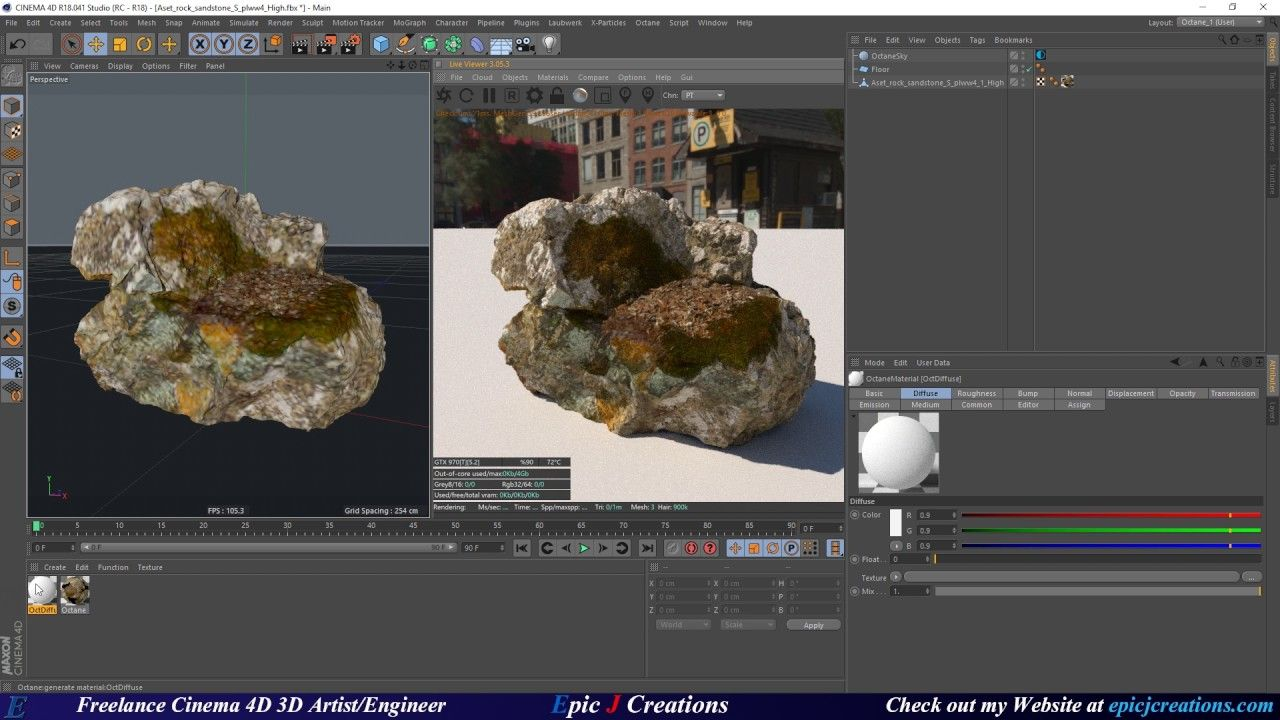 Quixel Megascans Fuz Map workflow in Cinema 4D and Octane