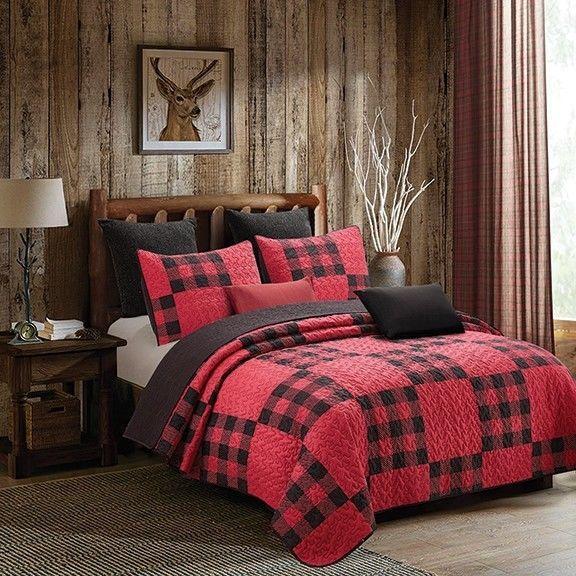 Red Buffalo Plaid Printed King Quilt Set Farmhouse
