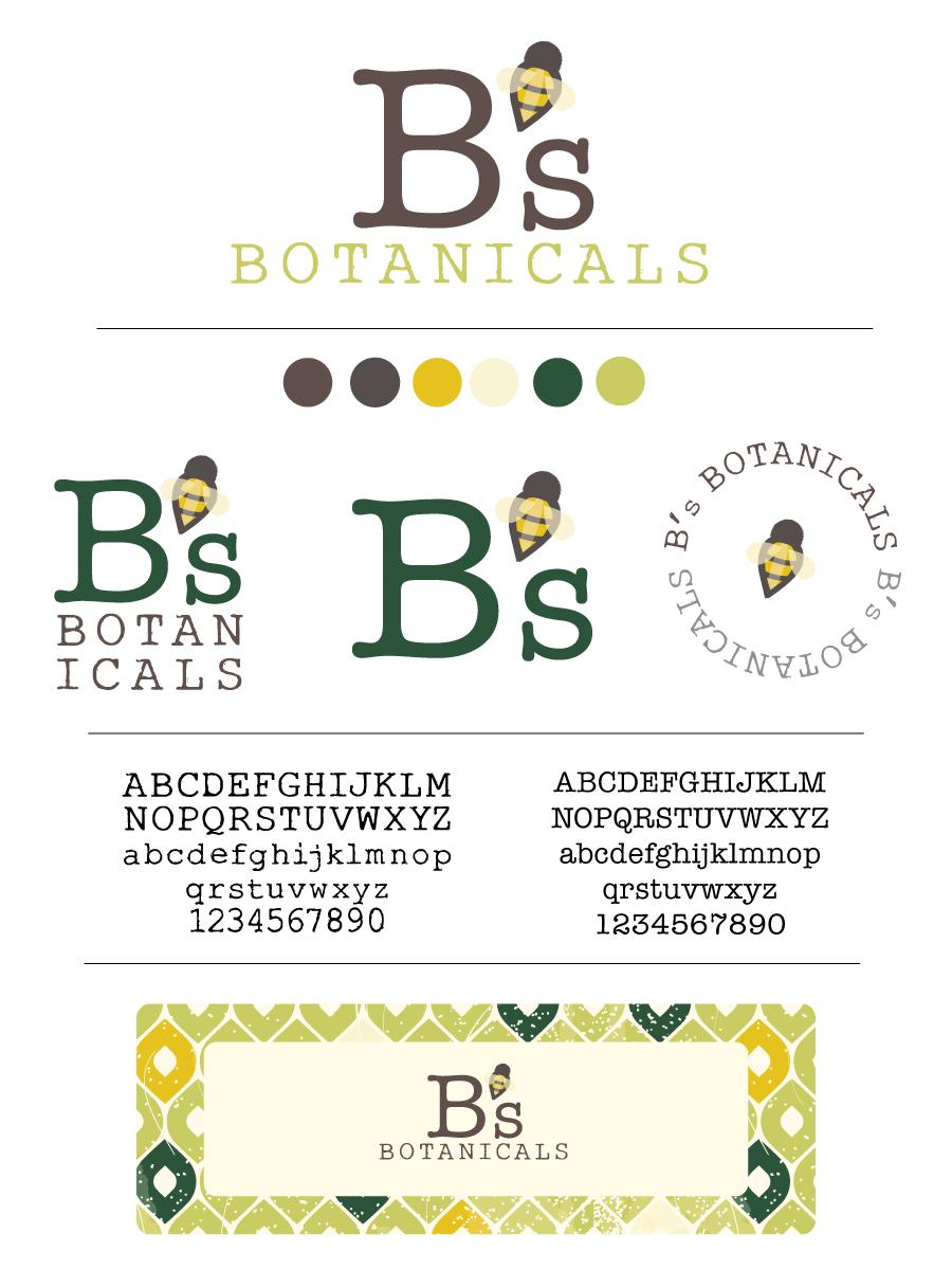 Design board for B's Botanicals | Custom Logo | Bee | Yellow | Black |  Designed by www.theautumnrabbit.com