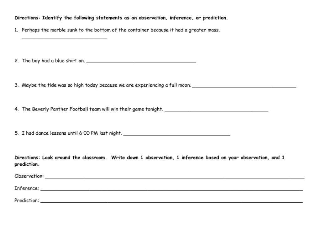 Inferences Worksheet 2 Answers Or Printables Observation