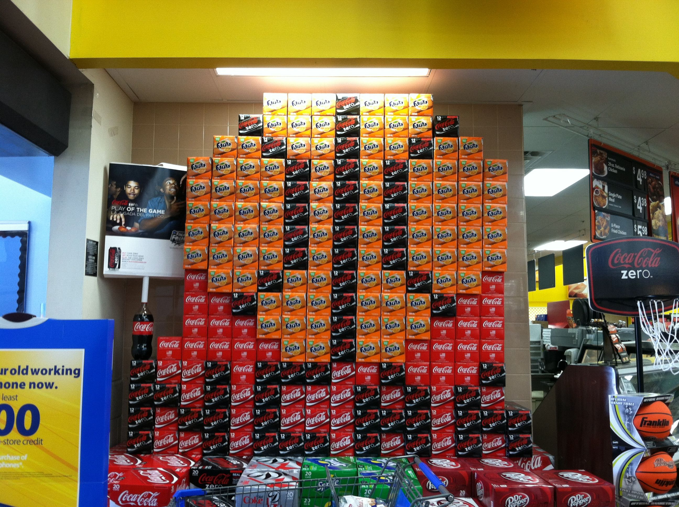Basketball Made Out Of Cases Of Soda Cans Found At Walmart In