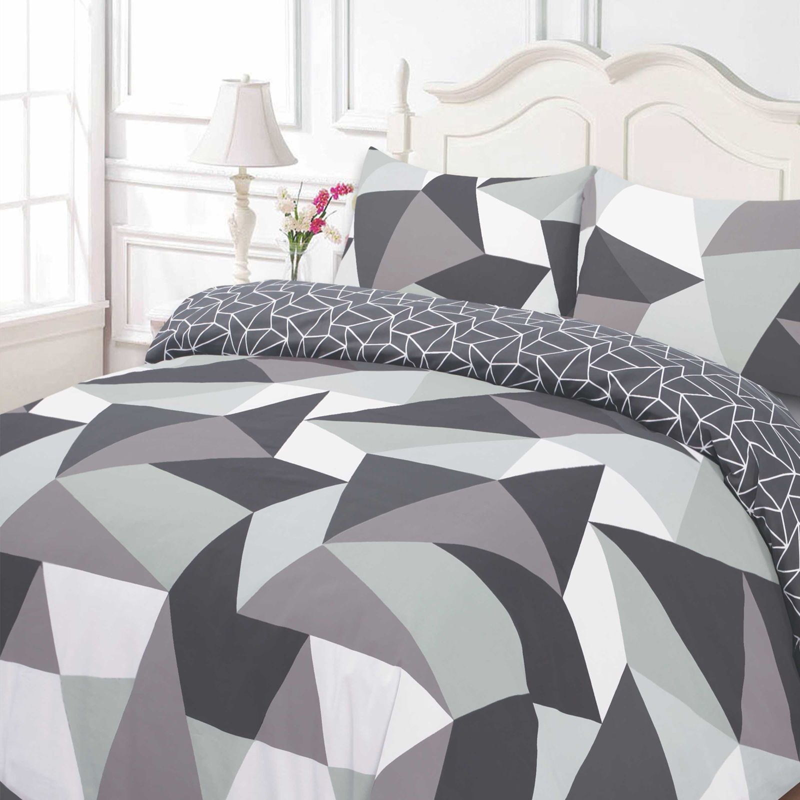 NEW DUVET COVER BEDDING SET WITH PILLOW CASES GREY WHITE RED BLACK QUILT COVERS