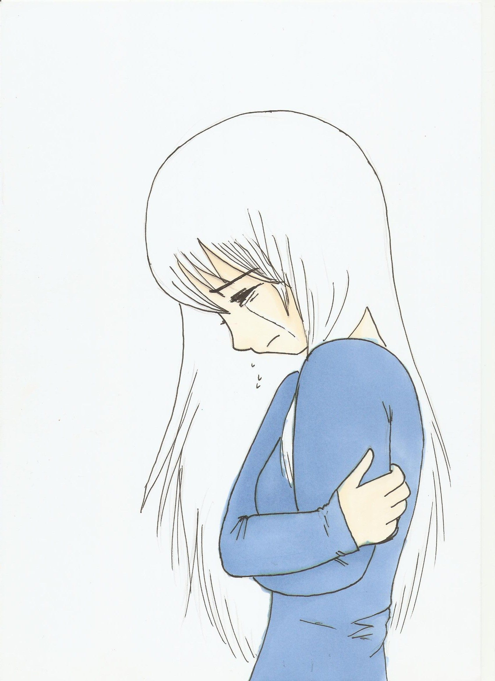 Girl crying drawing easy anime girl crying crossing for How to draw a little girl easy