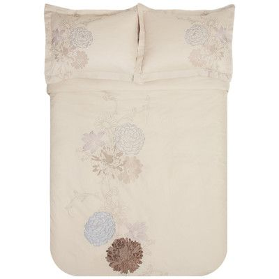 Simple Luxury Fieldstone 3 Piece Embroidered Reversible Duvet Set Size: King/California King