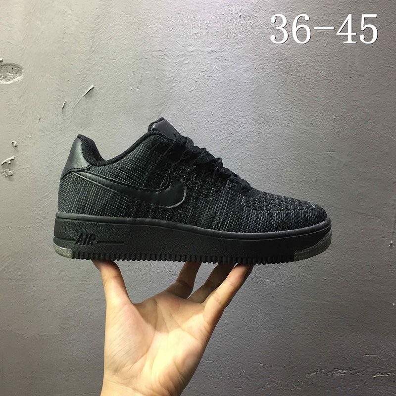 be1903ef4d30 2018 Authentic Nike air force 1 AF1 Flyknit low All Black Noir 820256 100  Youth Big Boys Shoes
