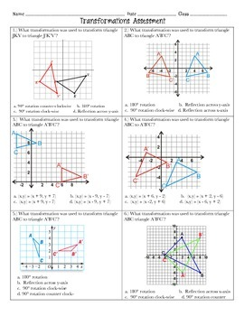 Transformations Assessment 8th Grade Math With Images 8th