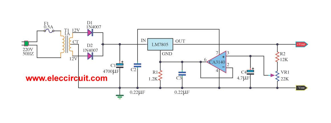 variable regulated power supply using 7805 and op amp electronicpower supply variable regulated 5v 13v using ca3140