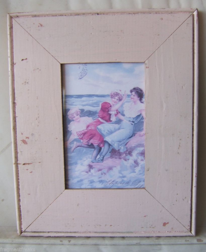 "Old Antique Wood Picture Frame 4"" x 6"" *See our Videos* Pink Shabby #FragmentFreaks"