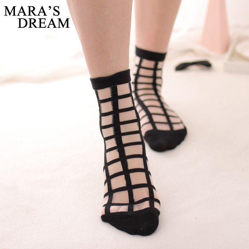 Glass Women Summer Transparent Crystal Mesh Knit Socks