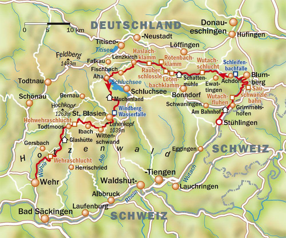 Südschwarzwald Karte.Abenteuer Schluchtensteig Im Schwarzwald Sechs Wanderempfehlungen