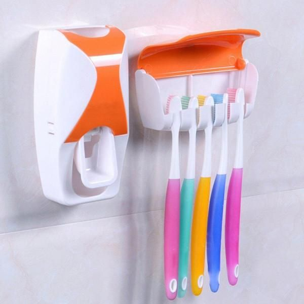 Multi-Color Automatic Toothpaste Dispenser Minions + Toothbrush Holder Set Family Bathroom Set Wall