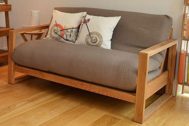 Cuba 2 Seater Oak Sofa Bed Futon
