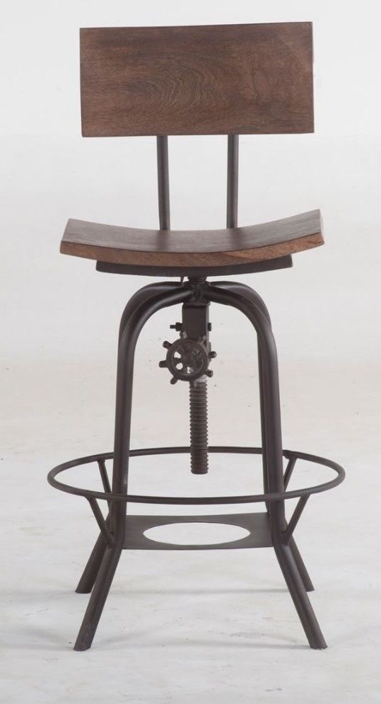 Distressed Metal Bar Stool Kitchen Chair Adjustable Wood