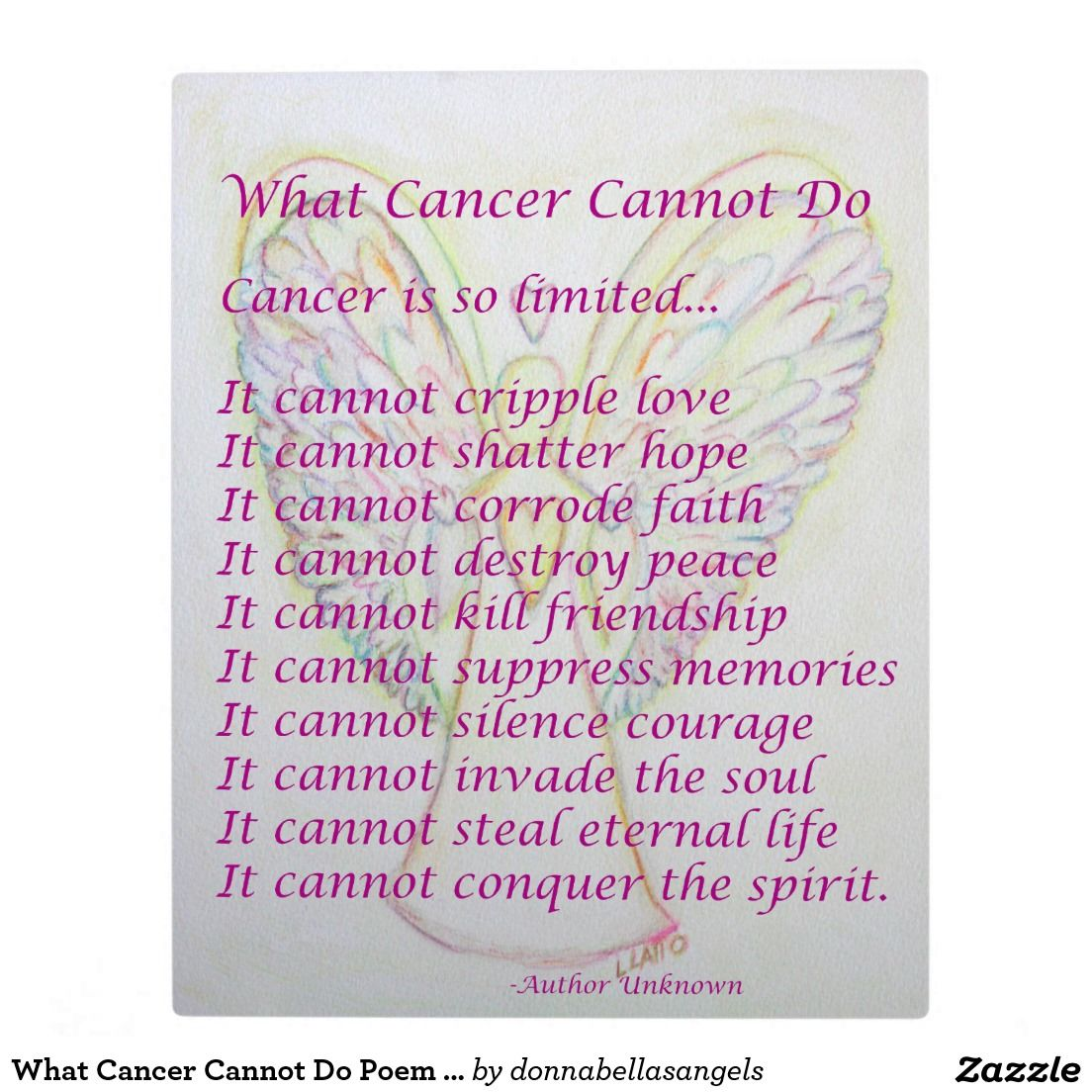 What Cancer Cannot Do Poem Angel Painting Plaque Cancer Angels Art