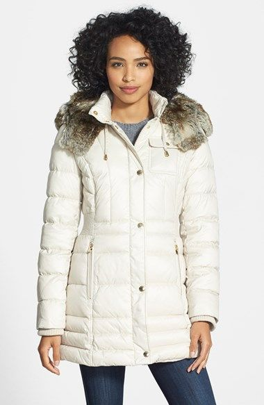 Laundry by Design Faux Fur Trim Quilted Anorak with Detachable Hood available at #Nordstrom