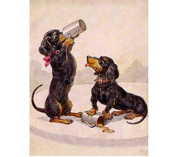 Dachshunds Drink From Beer Mugs Vintage Postcard Print Etsy Vintage Art Prints Postcard Printing Vintage Dachshund