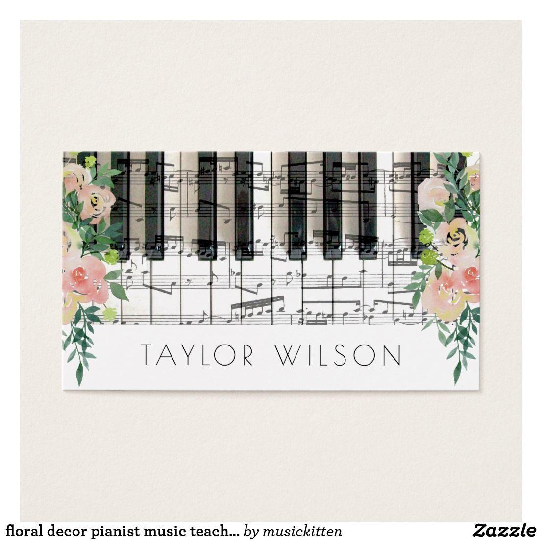 Floral decor pianist music teacher business card   Teacher business ...