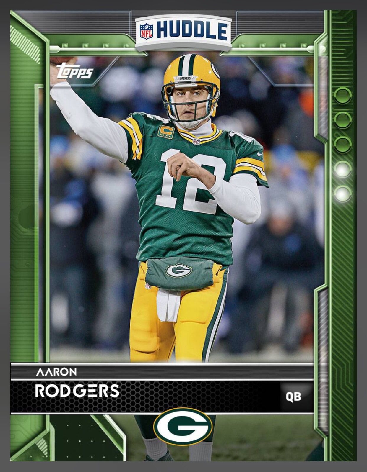 Aaron Rodgers Green Bay Packers Green Parallel Card 2016 Topps Huddle Green Bay Packers Players Rodgers Green Bay Football Cards