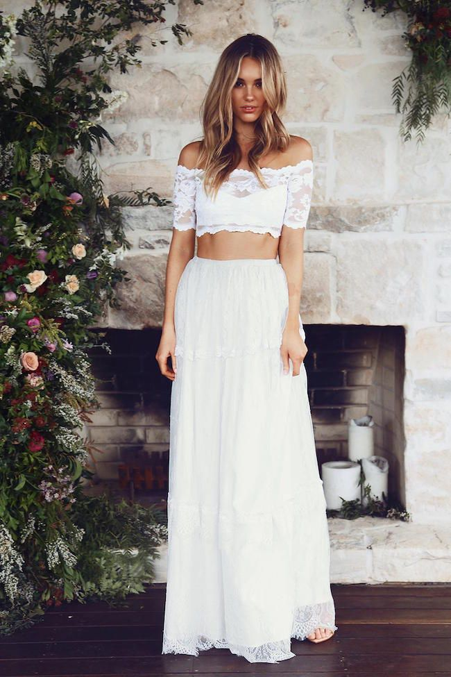 a9418305c6 Two Piece Wedding Dress  This handmade creation from Grace Loves Lace is  all about just that – lace! From the off the shoulder crop top to the  gorgeously ...