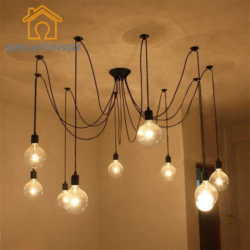 Diy Pendant Lights Modern Nordic E27 Retro Hanging Lamps Edison Bulb Fixtures Spider Ceil Ceiling Pendant Lights Light Bulb Chandelier Vintage Pendant Lighting