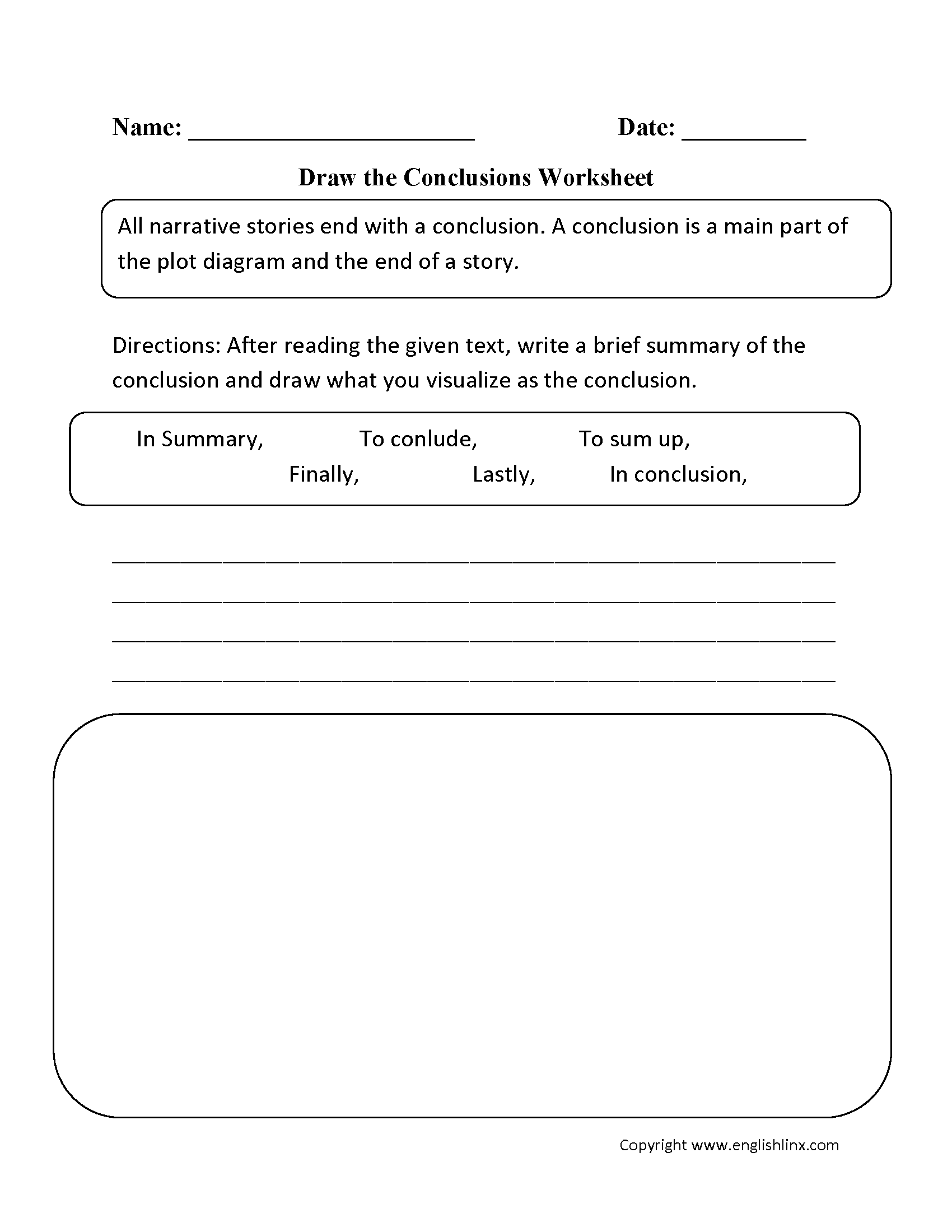 Draw The Conclusions Worksheet Reading Worksheets Writing Conclusions Drawing Conclusions [ 2200 x 1700 Pixel ]