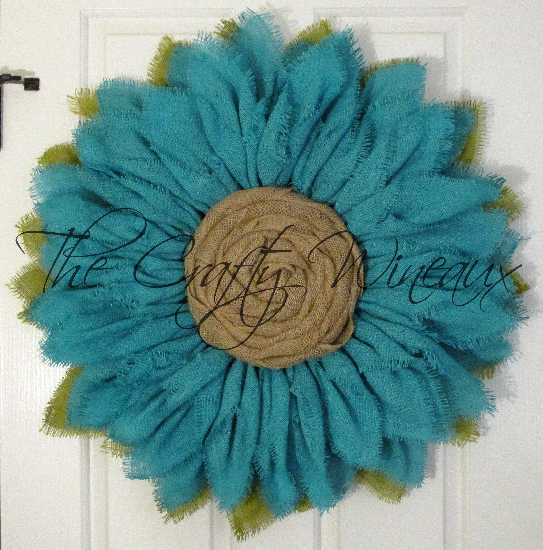 Photo of Free Shipping! Extra thick jade burlap sunflower wreath, sunflower door holder, burlap wreath, Tiffany blue, spring summer sunflower,