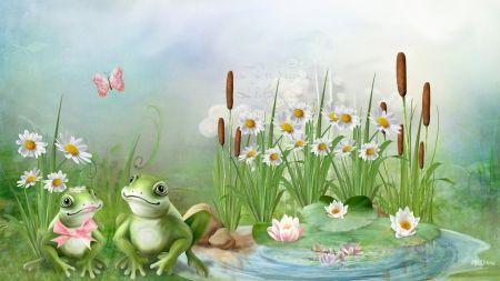 Frog Sweethearts Frogs Wallpaper Id 1749579 Desktop Nexus Animals