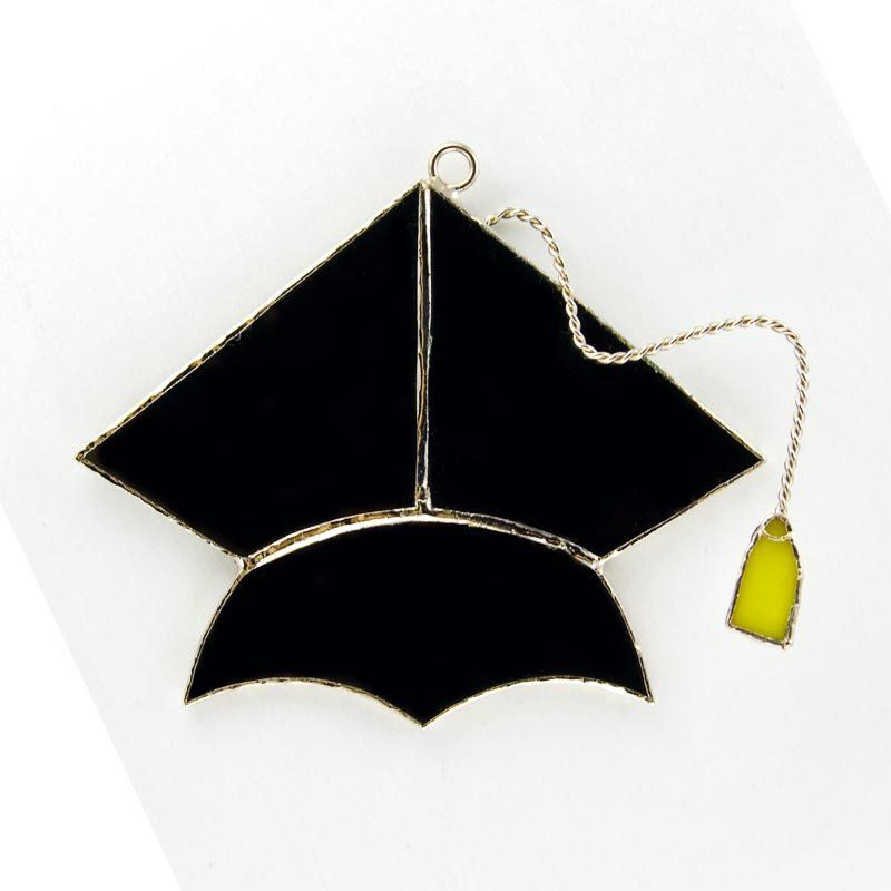 """Our Graduation Cap Stained Glass cover measures @ 3.5"""" tall. Use on our patented nightlight plug, suction cup, table top..."""