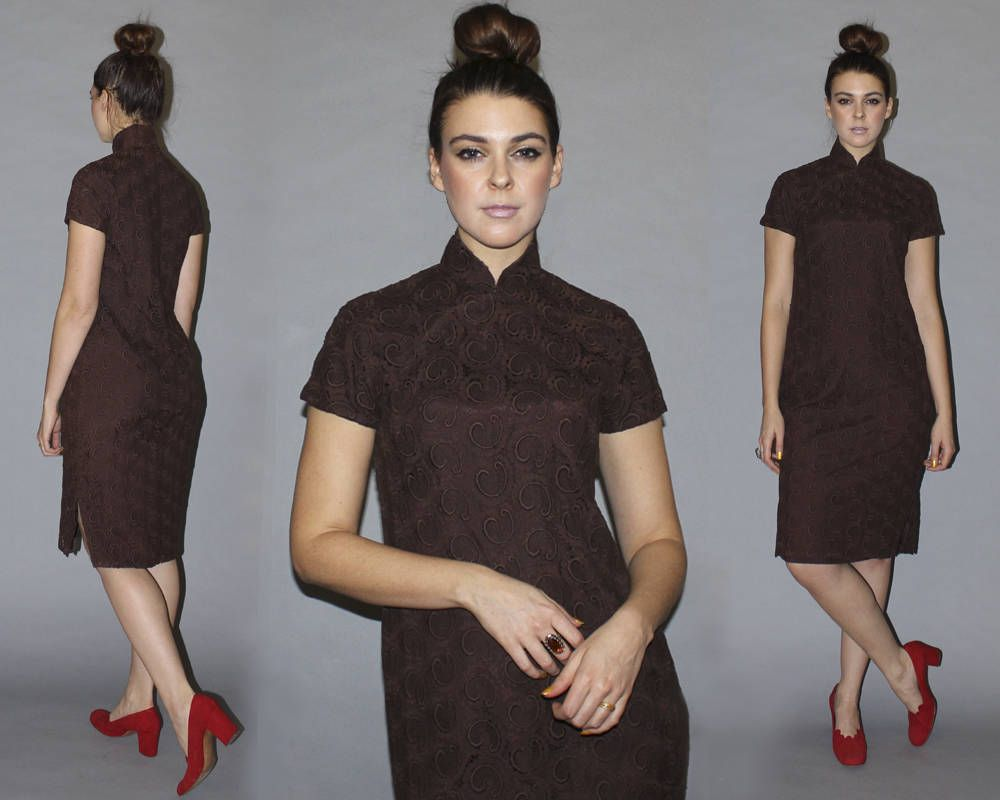Vintage 60s CHEONGSAM DRESS / Chocolate Brown, Venetian Lace ...