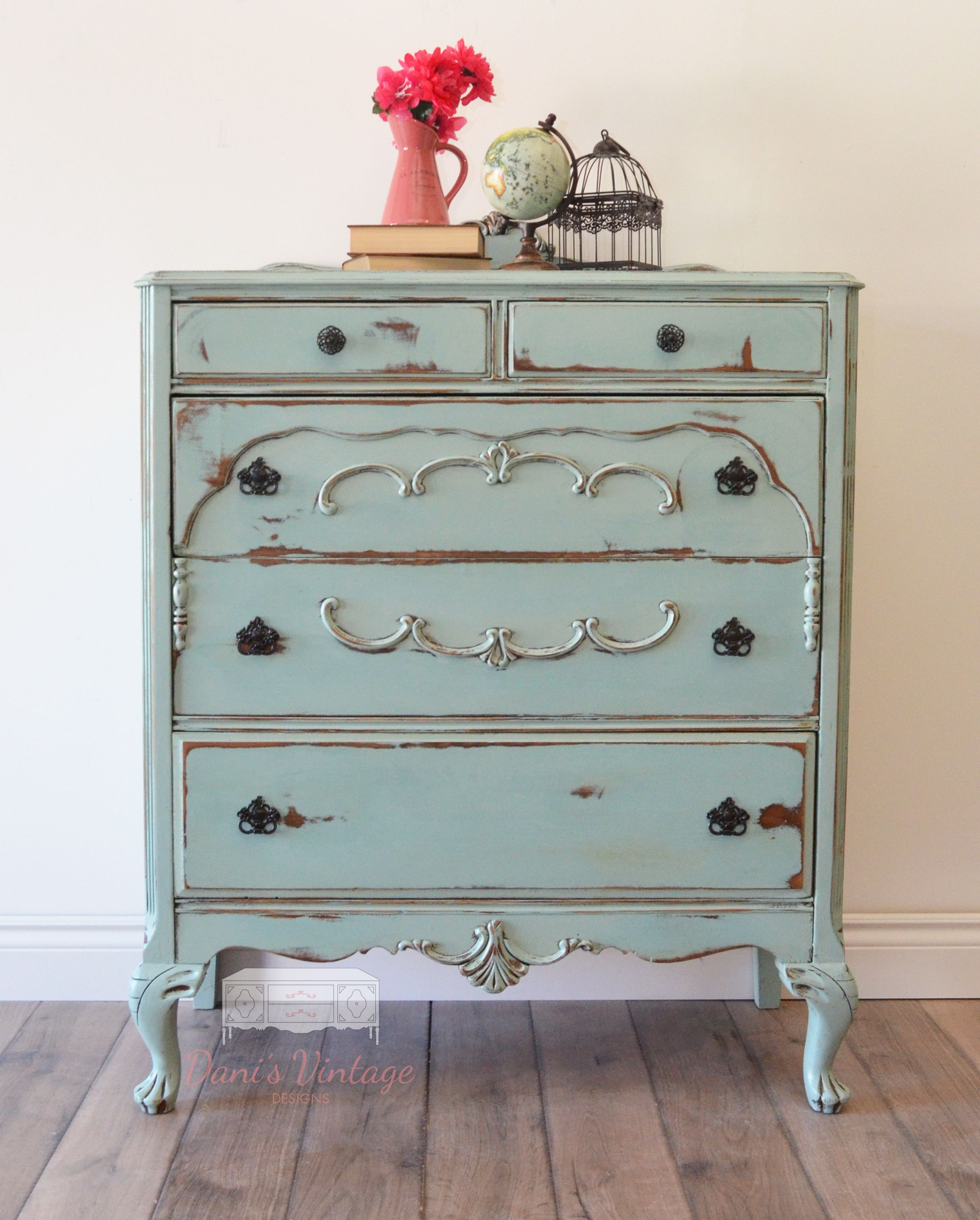 Beautiful Seafoam Antique Dresser In A