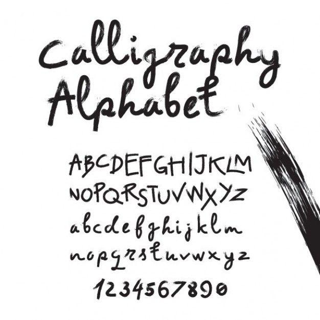 Alphabet In Calligraphy Brush Free Vector
