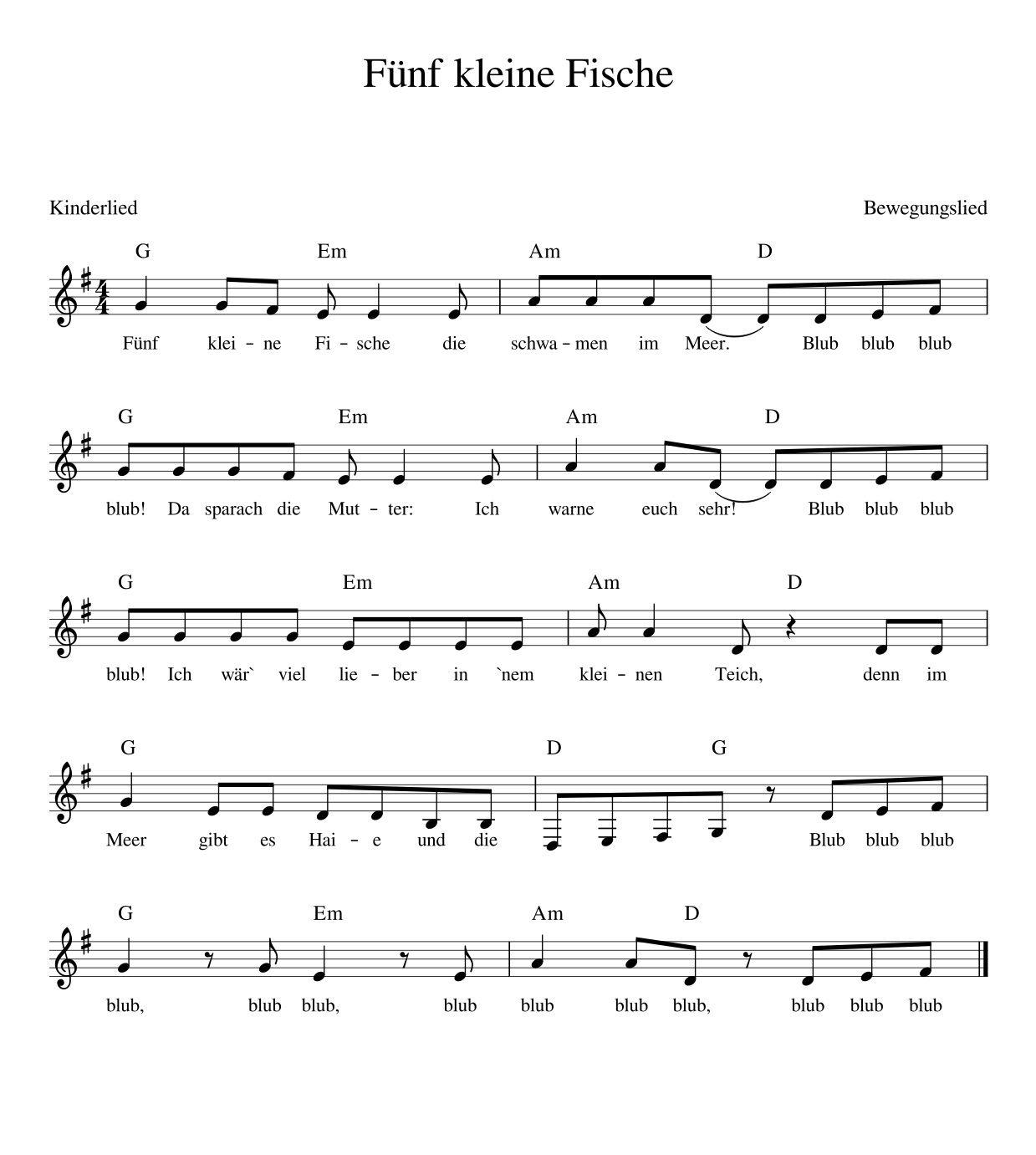 10 Kleine Fische Lied
